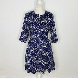 Gap Blue and White Floral Shirt Dress